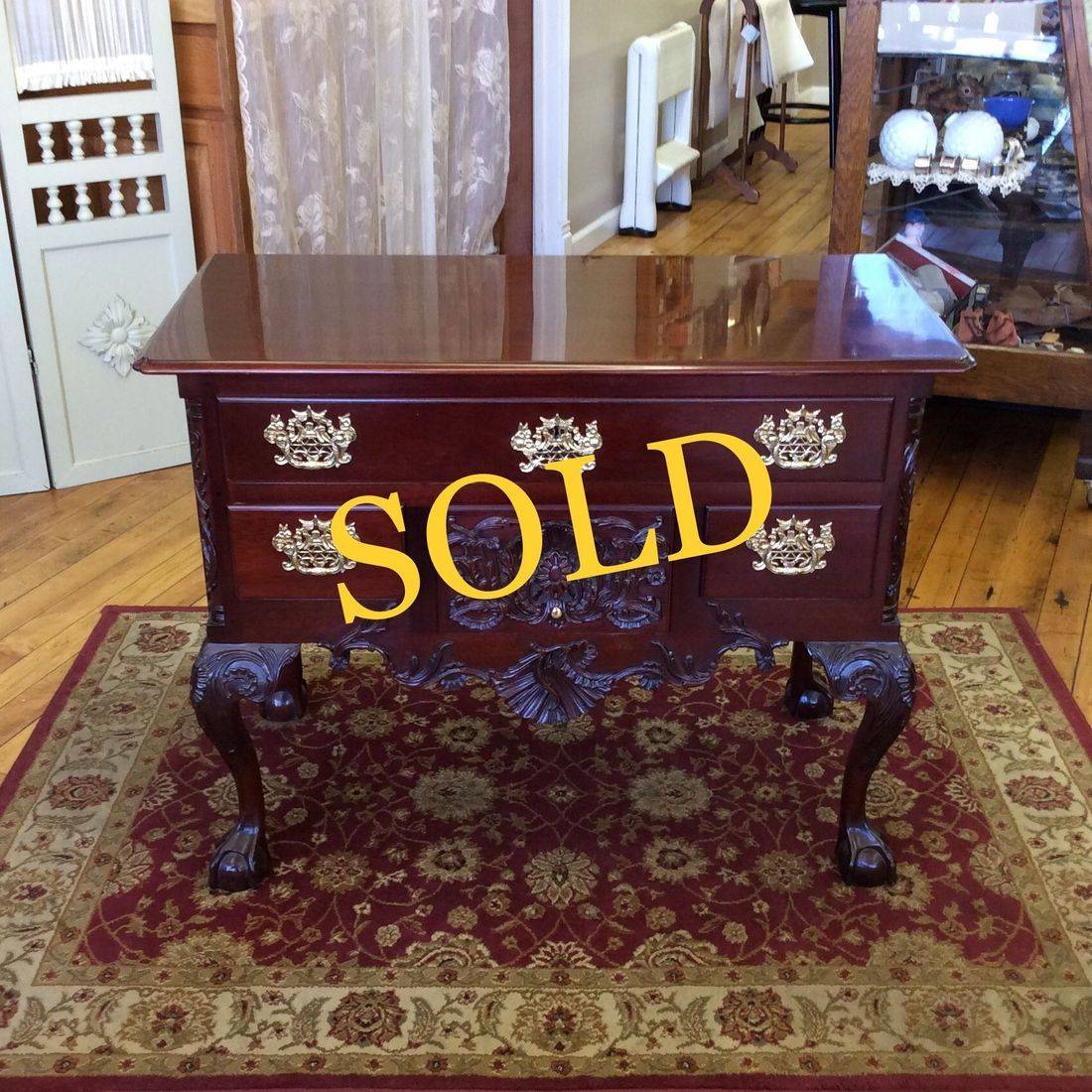 Kindel Winterthur Chippendale Style, Mahogany Low-Boy Dressing Table/Console/Server  w/Claw and Ball Feet   $775.00