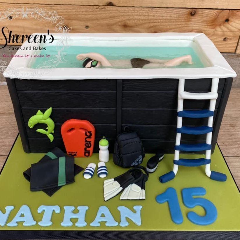 Swim Spa Birthday Cake Swimming Flippers Crawl