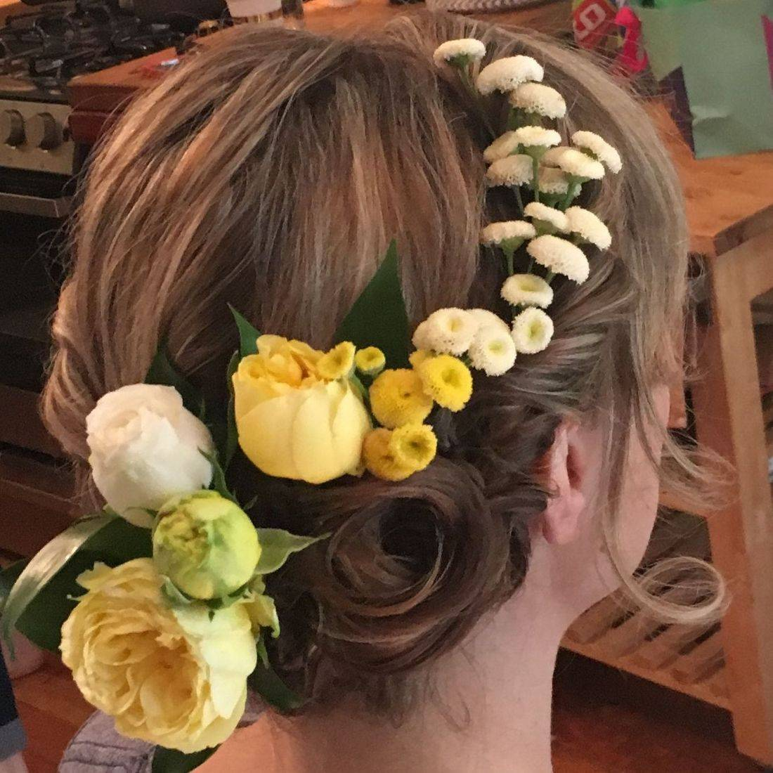 Beautiful Bridal upstyle with flower crown