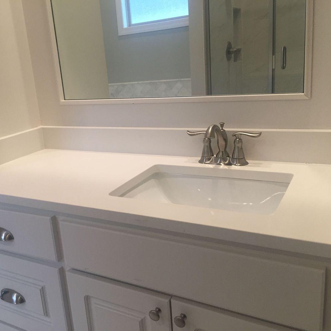White bathroom sink countertop