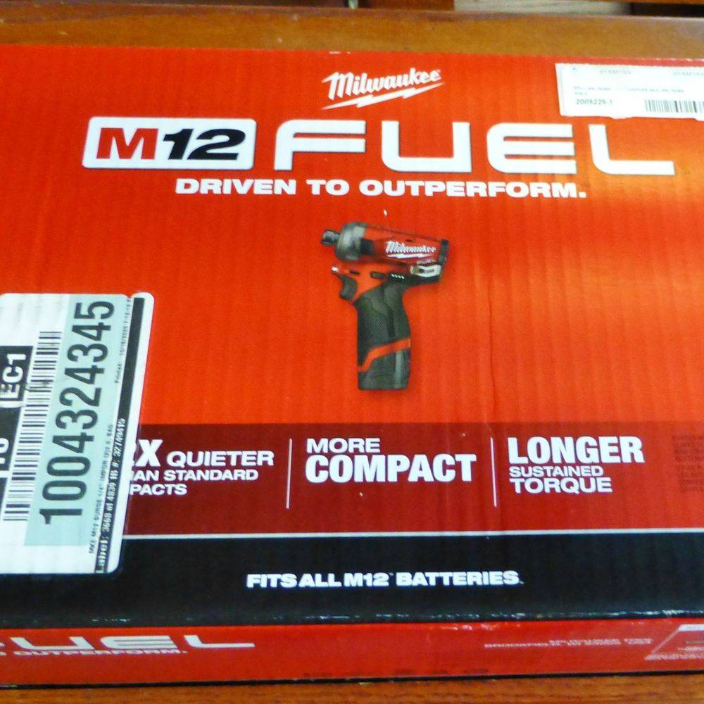 Picture of a Milwaukee M12 Fuel Hex Impact Drill Kit in a red box