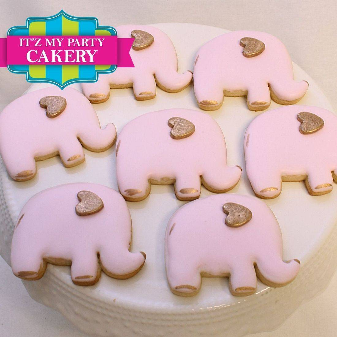 Pink Gold Elephant  Cookies Milwaukee