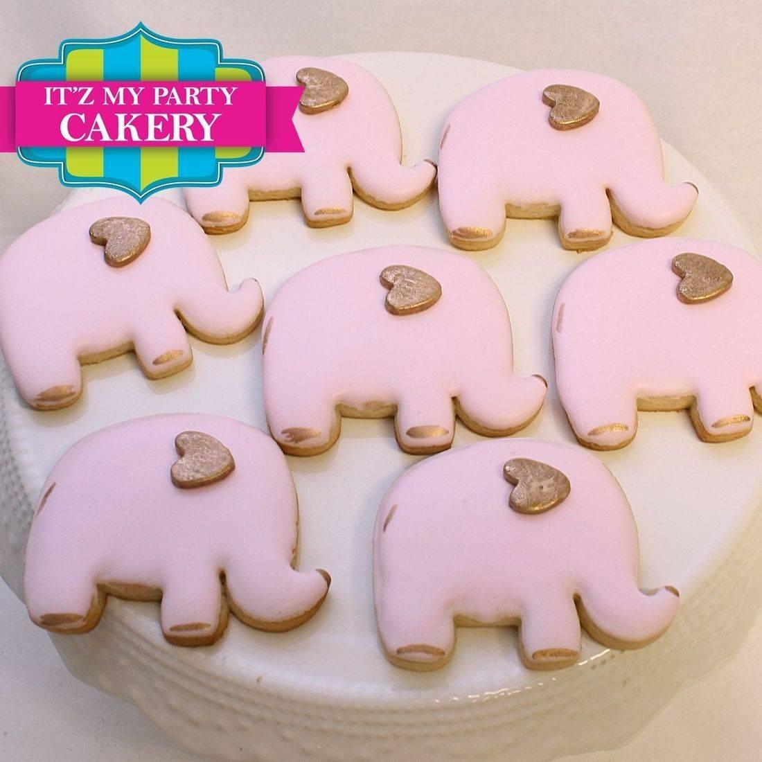 Pink Gold Elephant  Cookies Milwaukee
