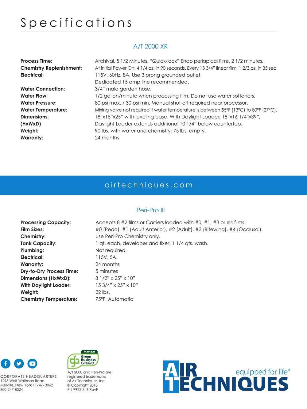 Air Techniques Film Processor Brochure specification page