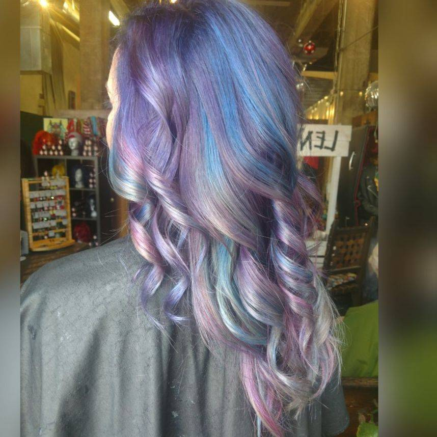 Hair blue hair purple curls charlotte stylist charlotte colorist hairstylist
