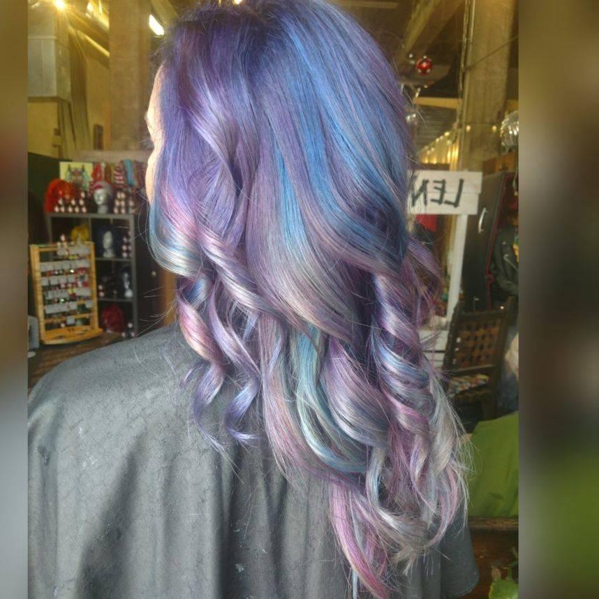 Hair blue hair purple curls charlotte stylist charlotte colorist hairstylist