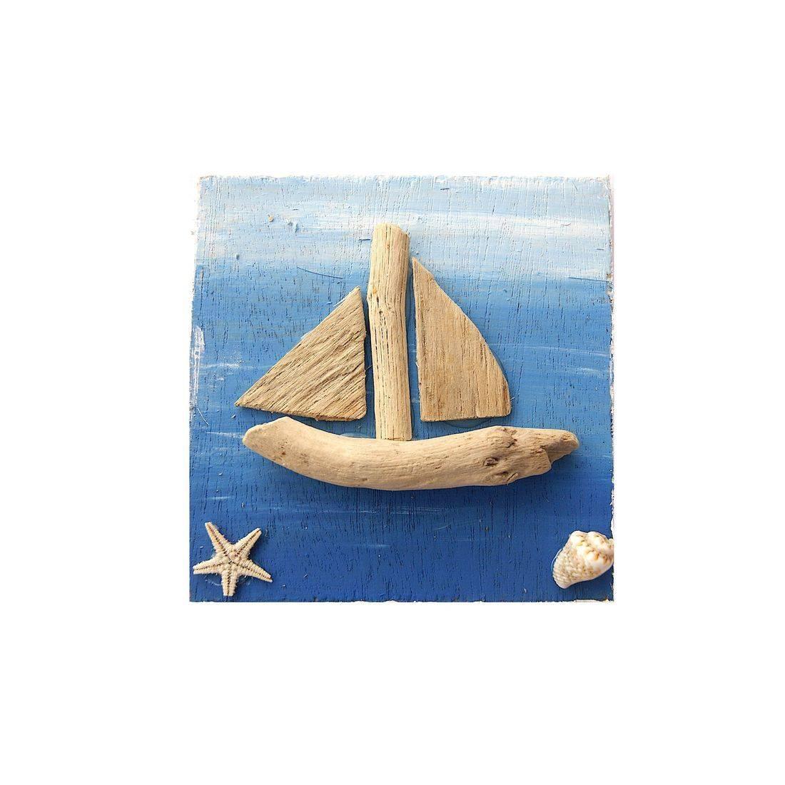 Fridge magnet driftwood boat