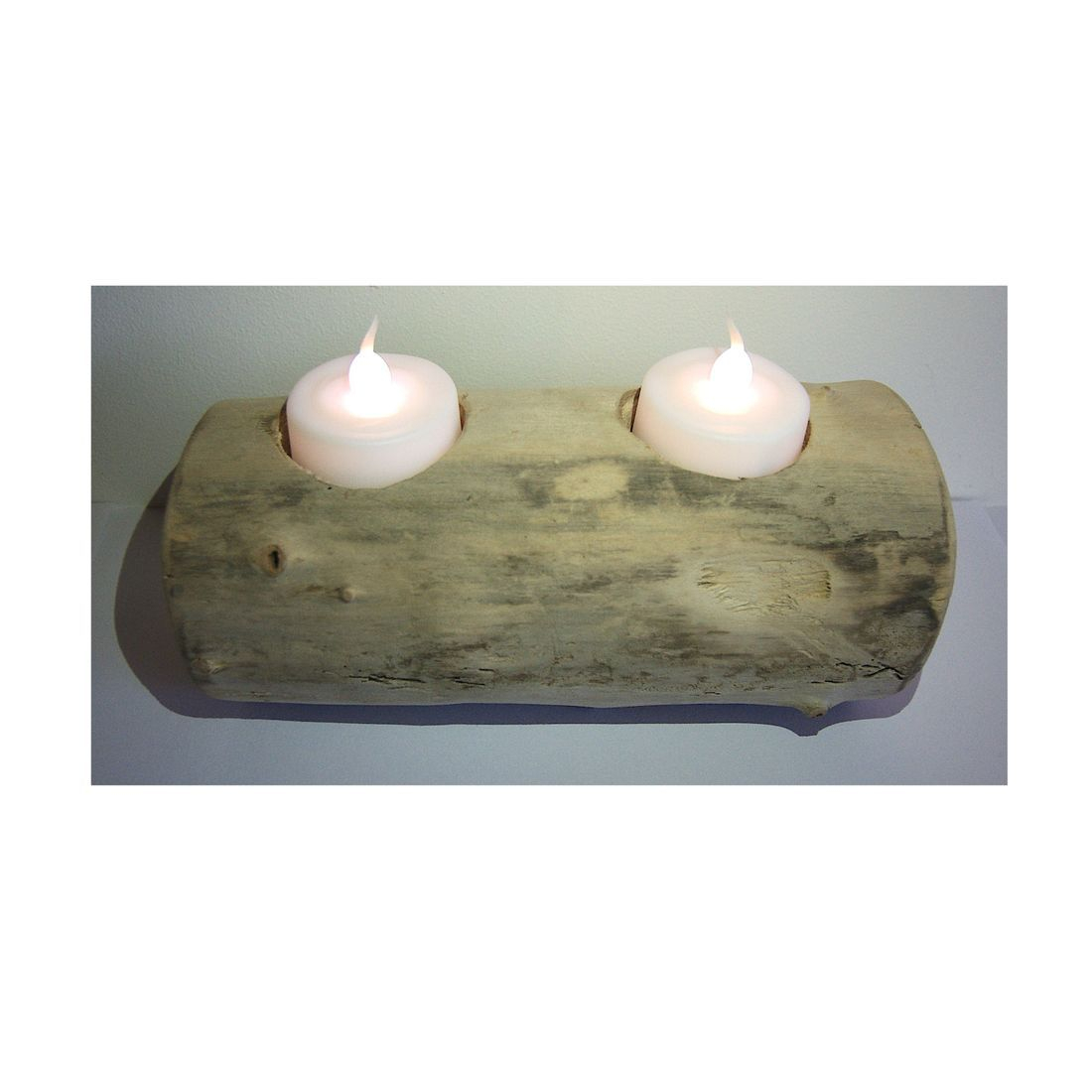 Driftwood log candle tea light holder 9