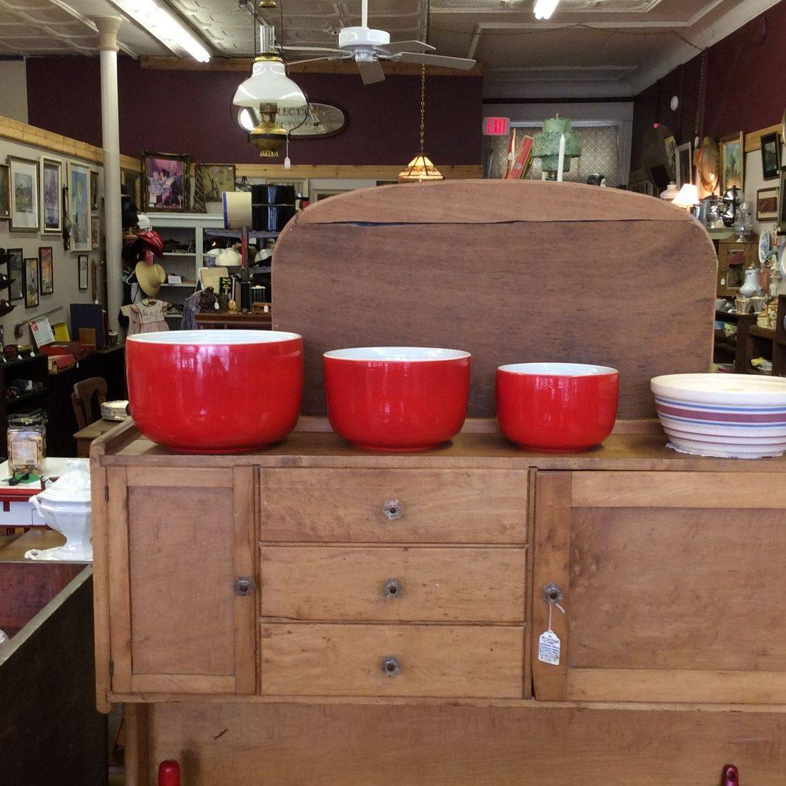 "Vintage 3-Pc. Hall Superior Red Straight-Sided Mixing Bowl Set  8-3/4"", 7-1/2"", 6""   $95.00"