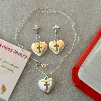 Cross and Heart Necklace with Matching Earrings. Necklace and Earrings made of .925 Steerling Silver. Necklace 18""