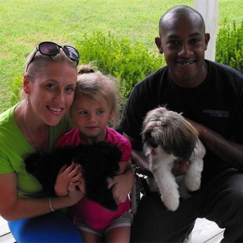JASON, KARI AND KATIE WITH SCOUT AND RANGER