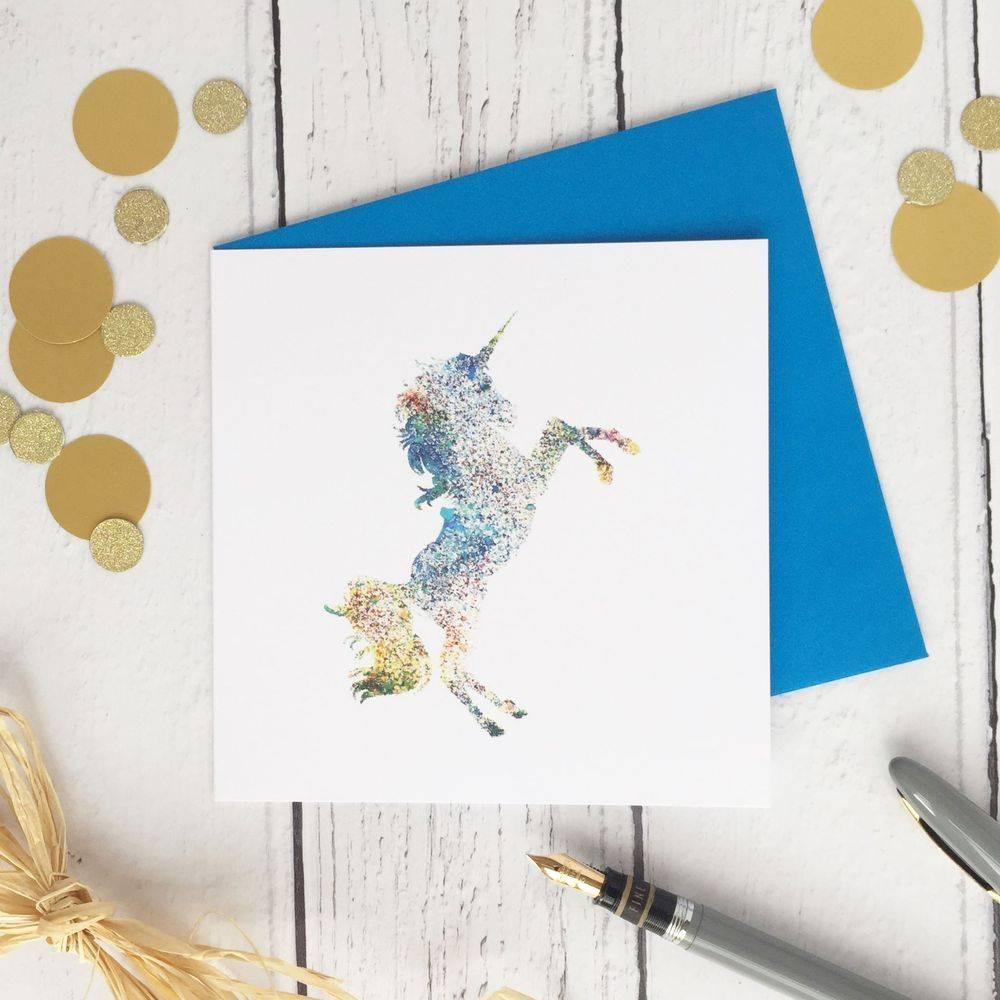 Unicorn multicoloured greetings card birthday