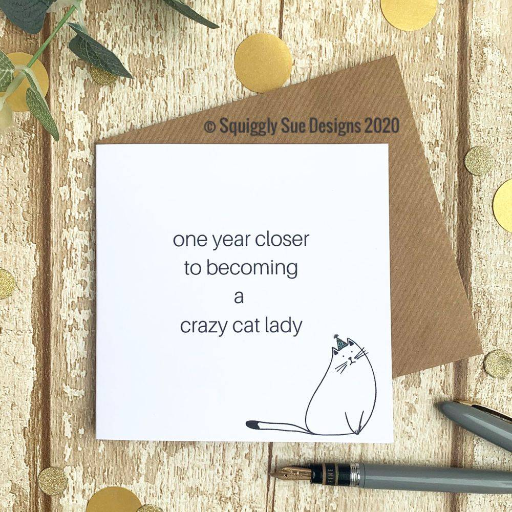 Crazy cat lady Perfect cat lovers birthday card