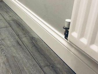 Skirting boards, rebated door casings, door linings, architraves, interior window sills, fixings and accessories, MDF FSC fibreboard fibre wood, moulded and veneered mouldings