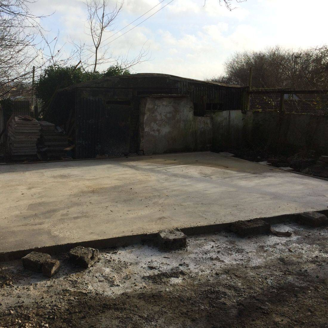 meters large garage shed foundationds edge square thick sand cement chippings