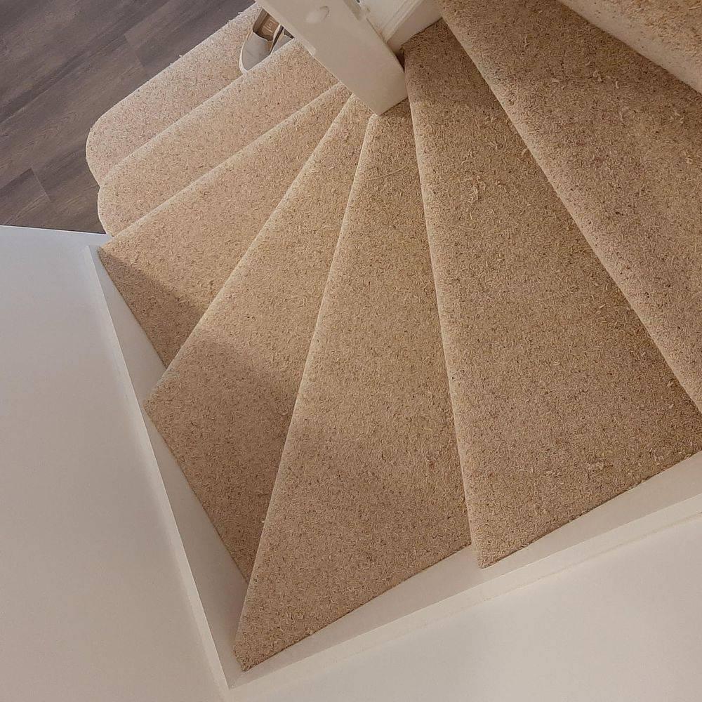 wool carpet, neutral, beige, staircase, wool twist