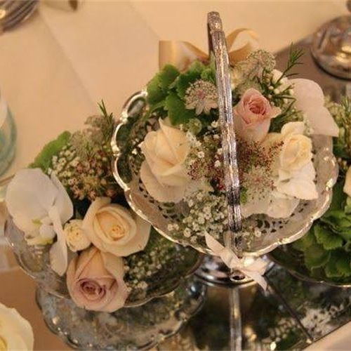 Vintage silver table decorations
