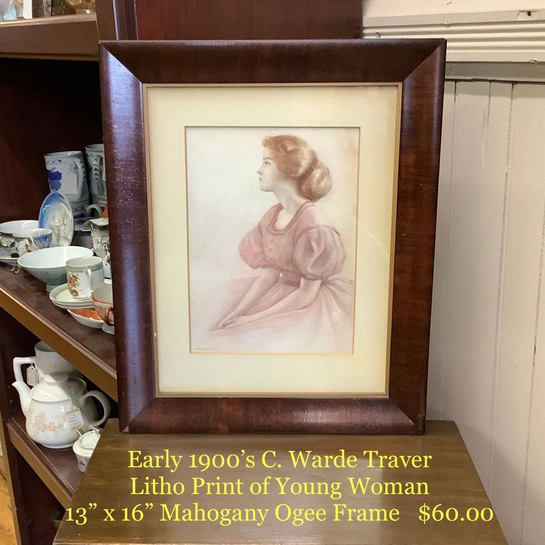 C. Warde Traver Early 1900's Litho Print of Young Woman