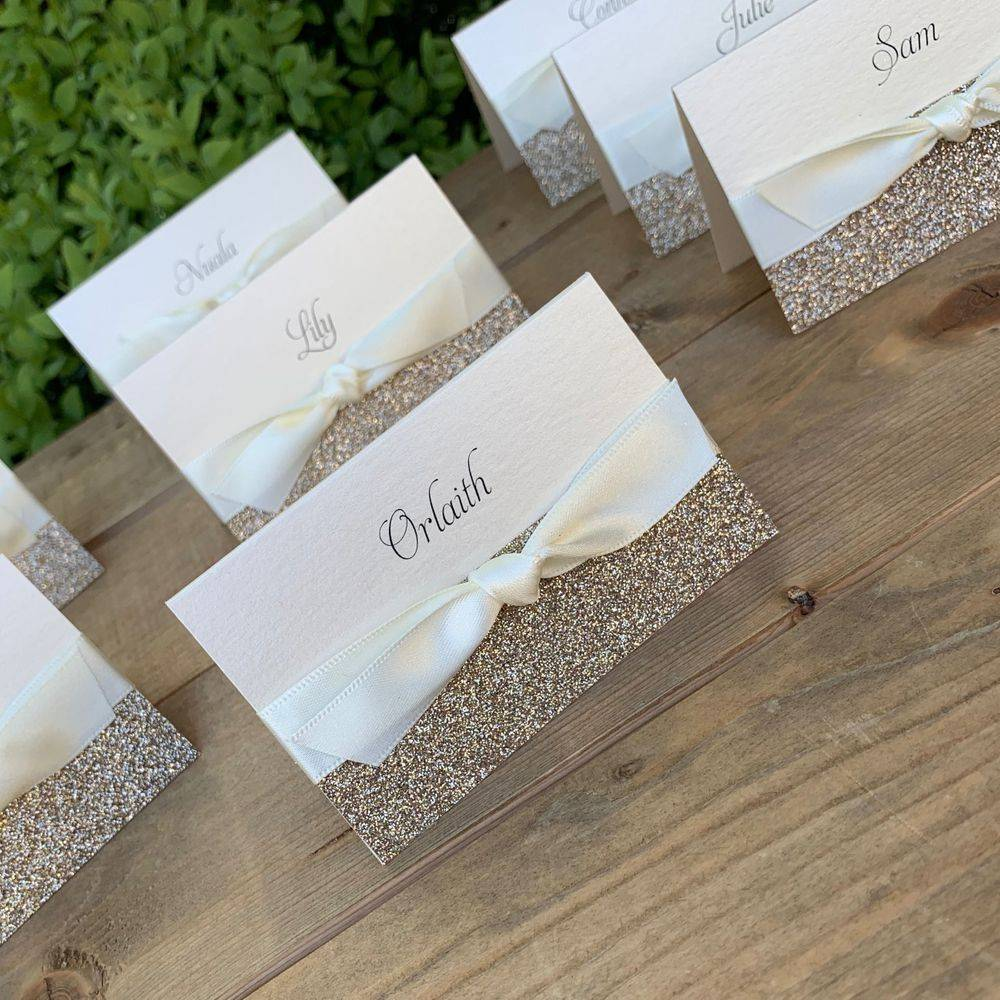 Wedding Place name in ivory with champagne gold glitter, ivory ribbon