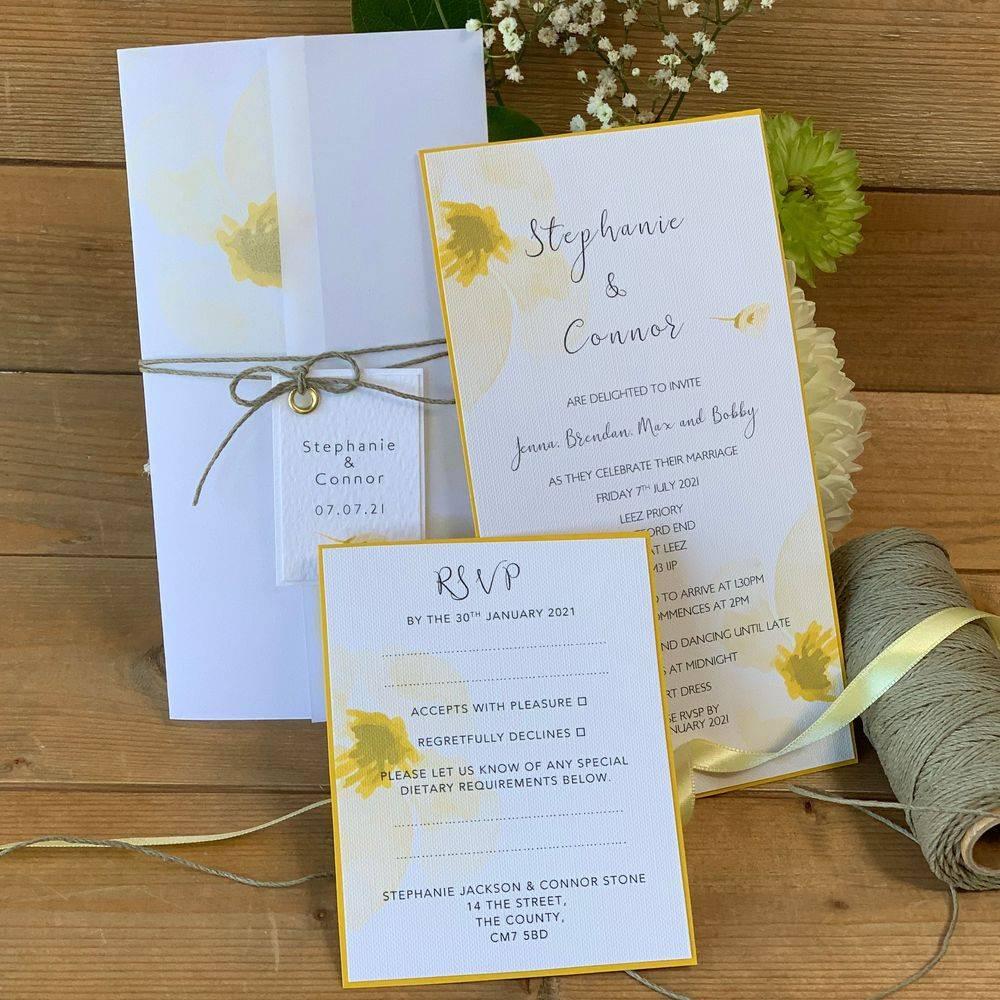Wedding Invitation in lemon, yellow and white