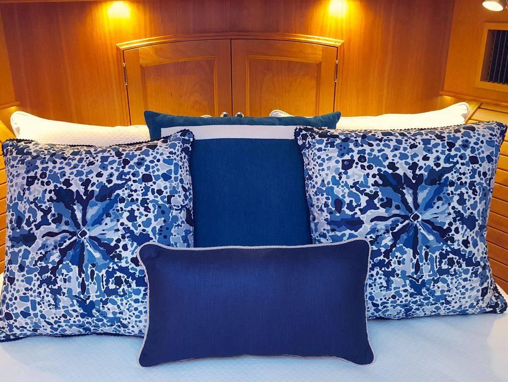 custom Master bedding #Hinckleyyachts #NewportYachtInteriors