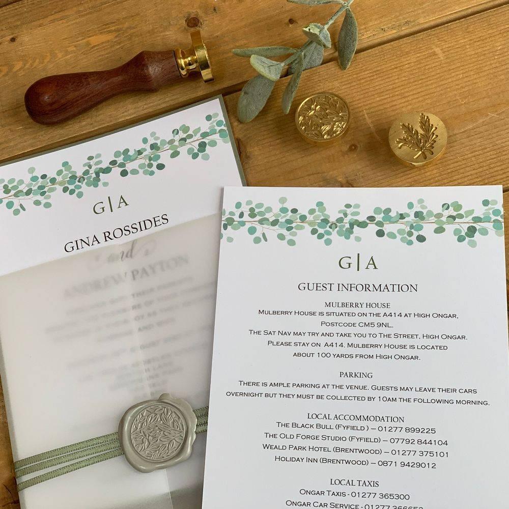 Wax Sealed Wedding Invite, Eucalyptus and White