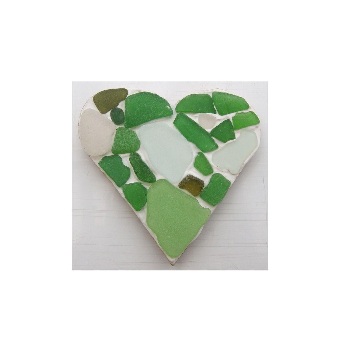 Fridge magnet heart sea glass