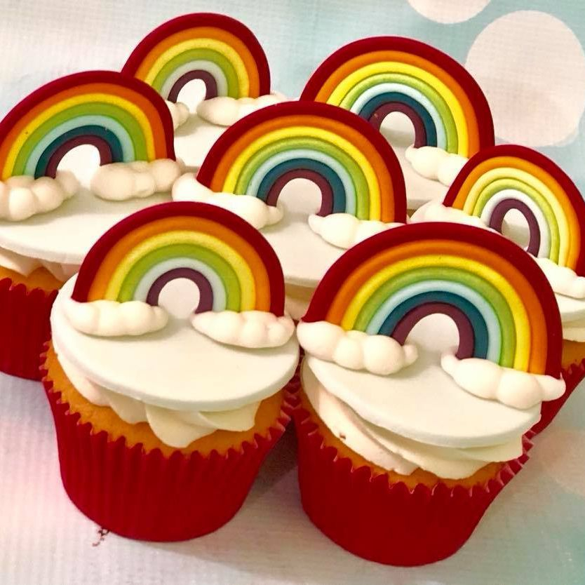 Rainbow Cupcakes Standing 3D Bright Colourful Fluffy Clouds