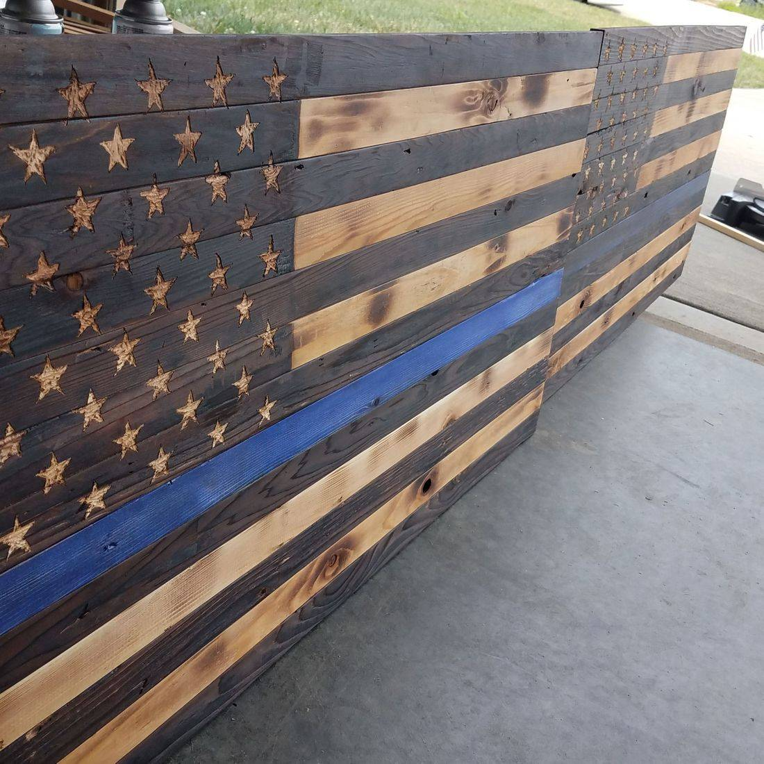 Police Officer wooden flags