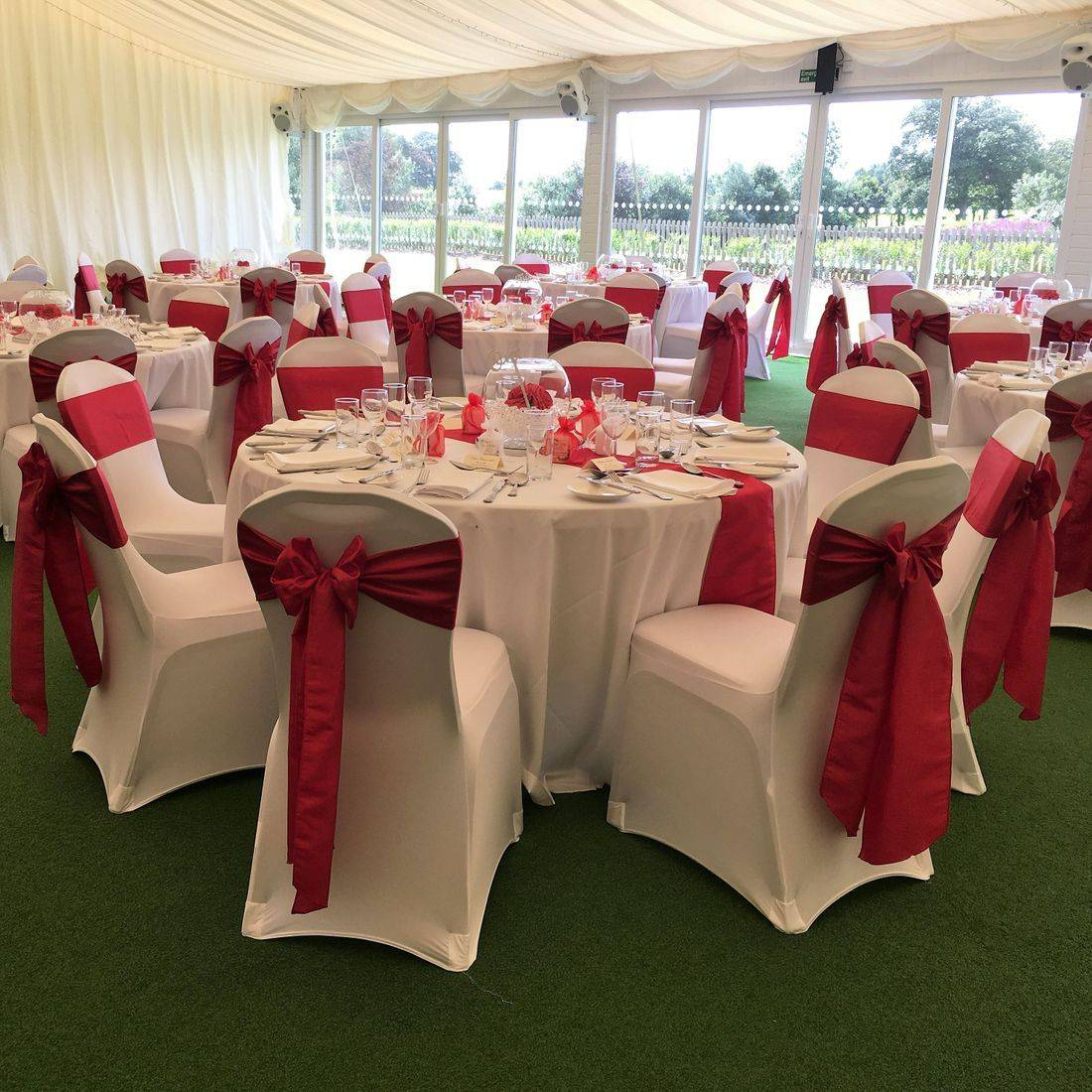 White Chair Covers with Red Taffeta  Sash