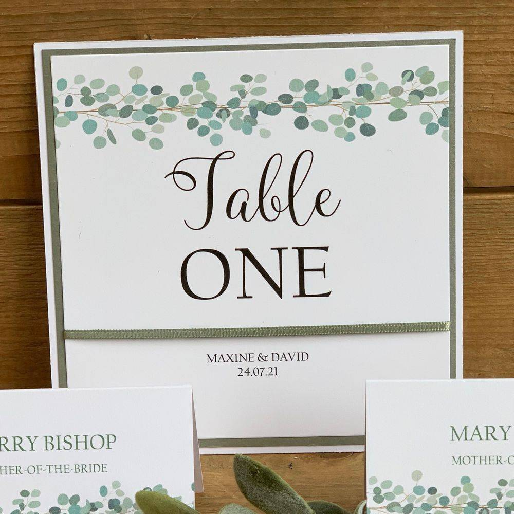 Eucalyptus Table Number Card
