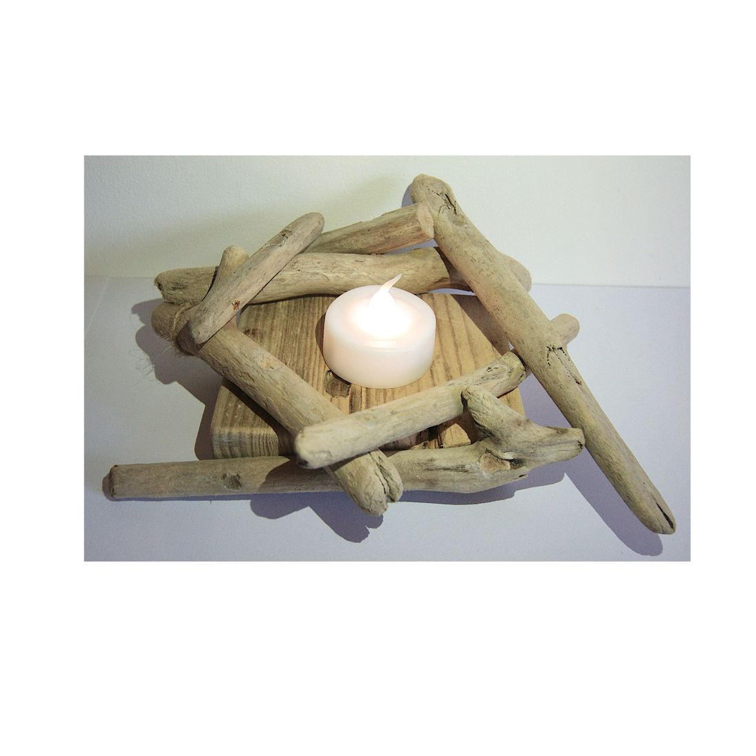Driftwood candle tea light holder 5