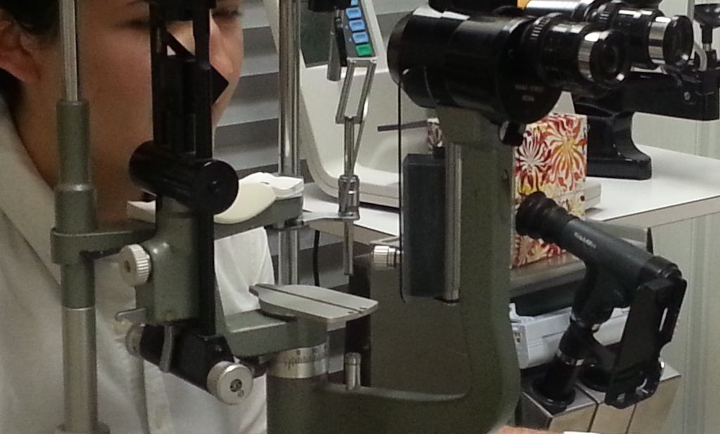 slit lamp exam  may show cataracts