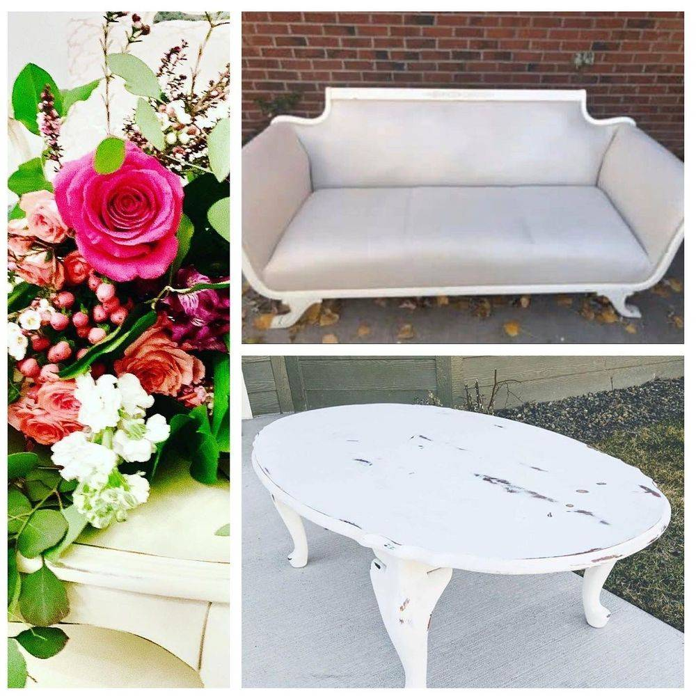Vintage Sofa & White table for rent