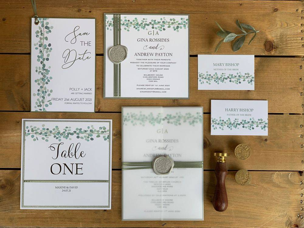 Wedding Invitations with Eucalyptus and Wax Seal