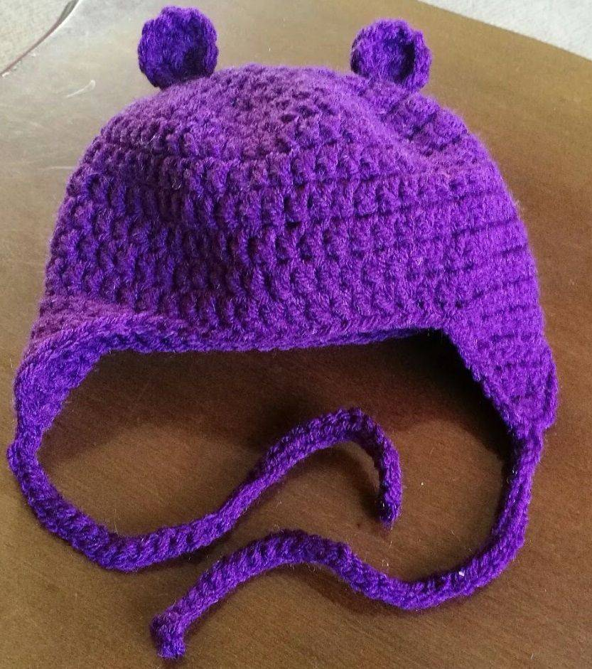 Baby Bear Hat with Ear Flaps Handmade