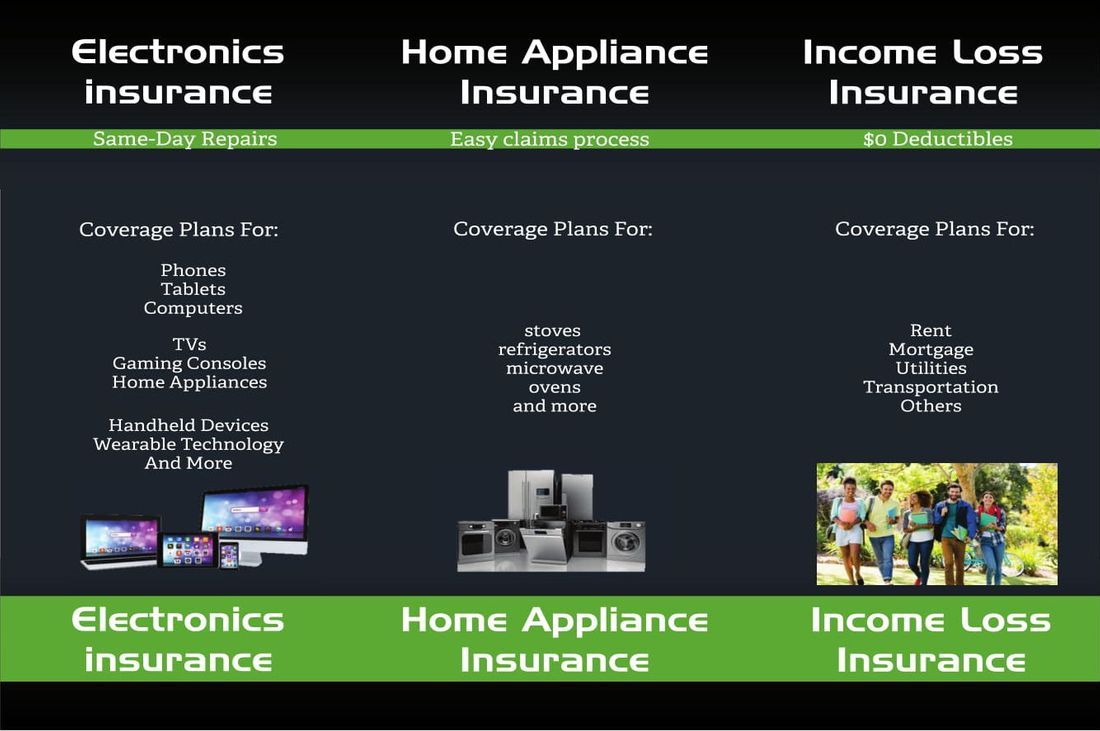 Electronics Insurance, Home Appliance Insurance, Income Loss Insurance