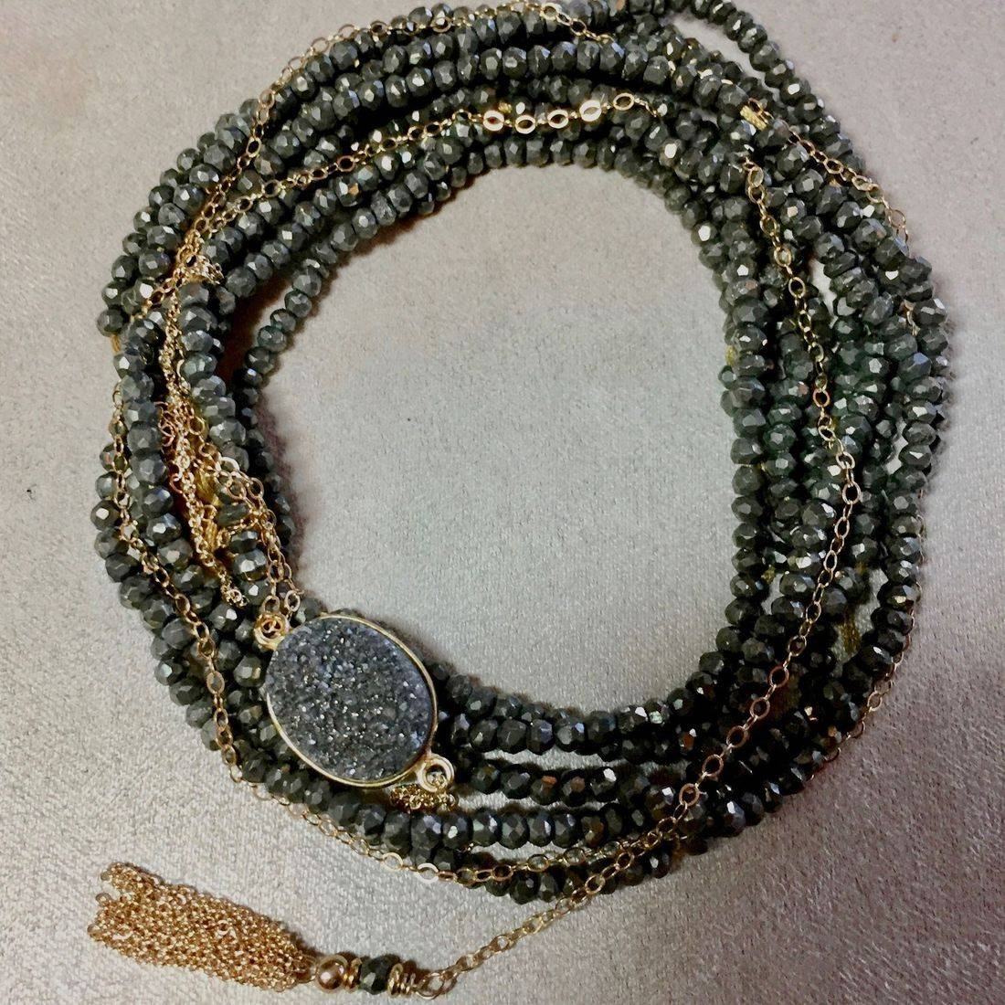 "42"" Pyrite Gemstone Wrap Bracelet, with Druzi and 14k Gold Filled chain, clasp and tassel"