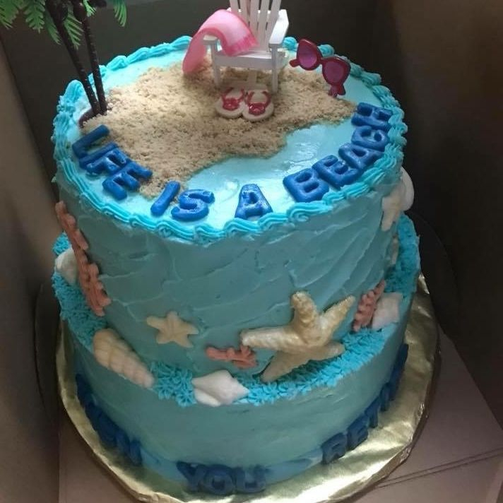 Beach Themed Two-Tiered Cake