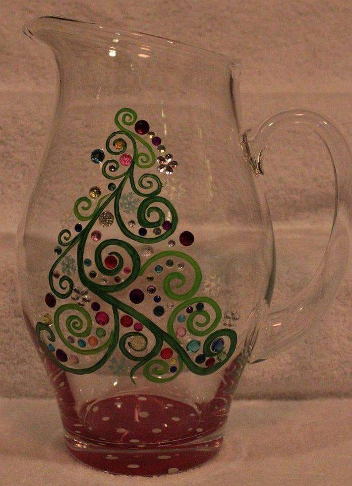 Hand Painted Christmas Pitcher