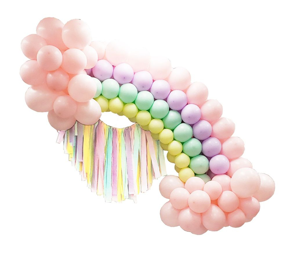 Balloon Pastel Rainbow Ribbon Arch