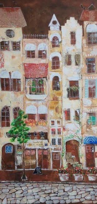Cityscape, landscape, buildings, collage art, paper art, collage artist, mixed media artist, european street artwork