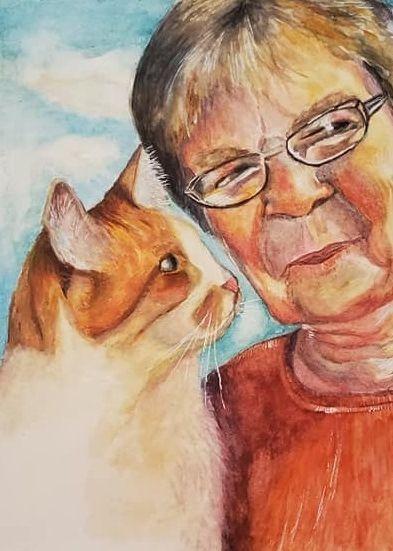 pet portrait, family portrait, watercolor, cat, mother, memorial, portrait art