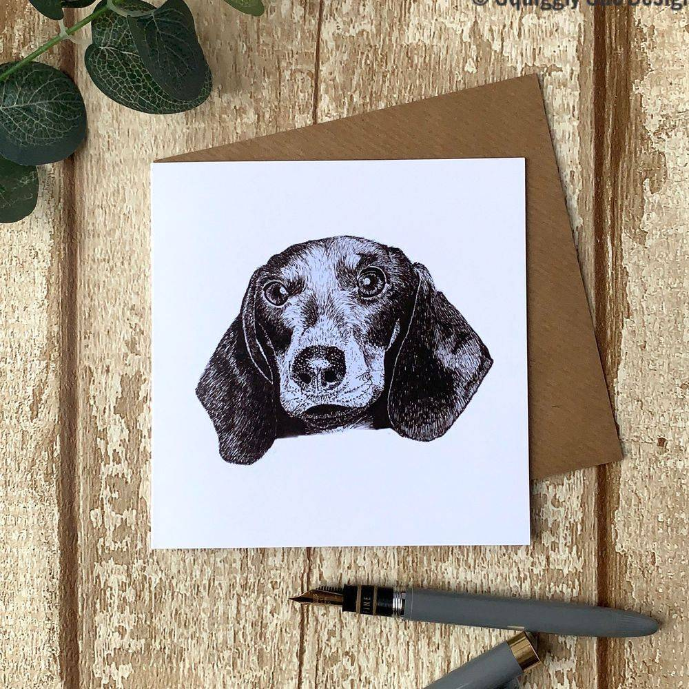 Sausage dog dachshund card perfect for dog lover