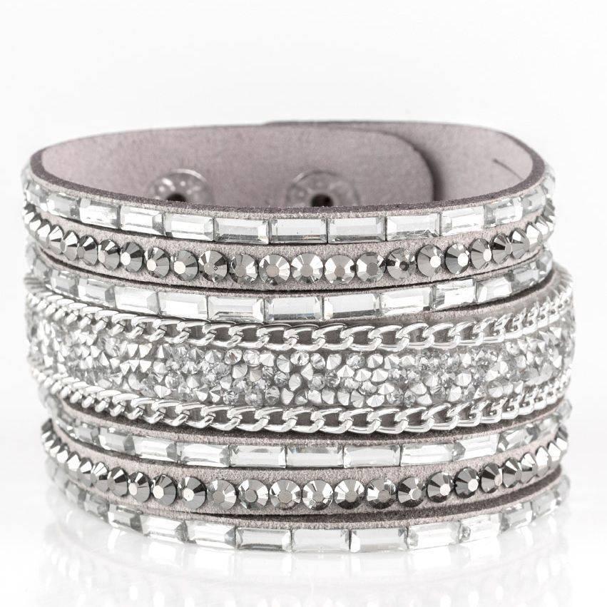 Paparazzi Rhinestone Rumble silver bracelet