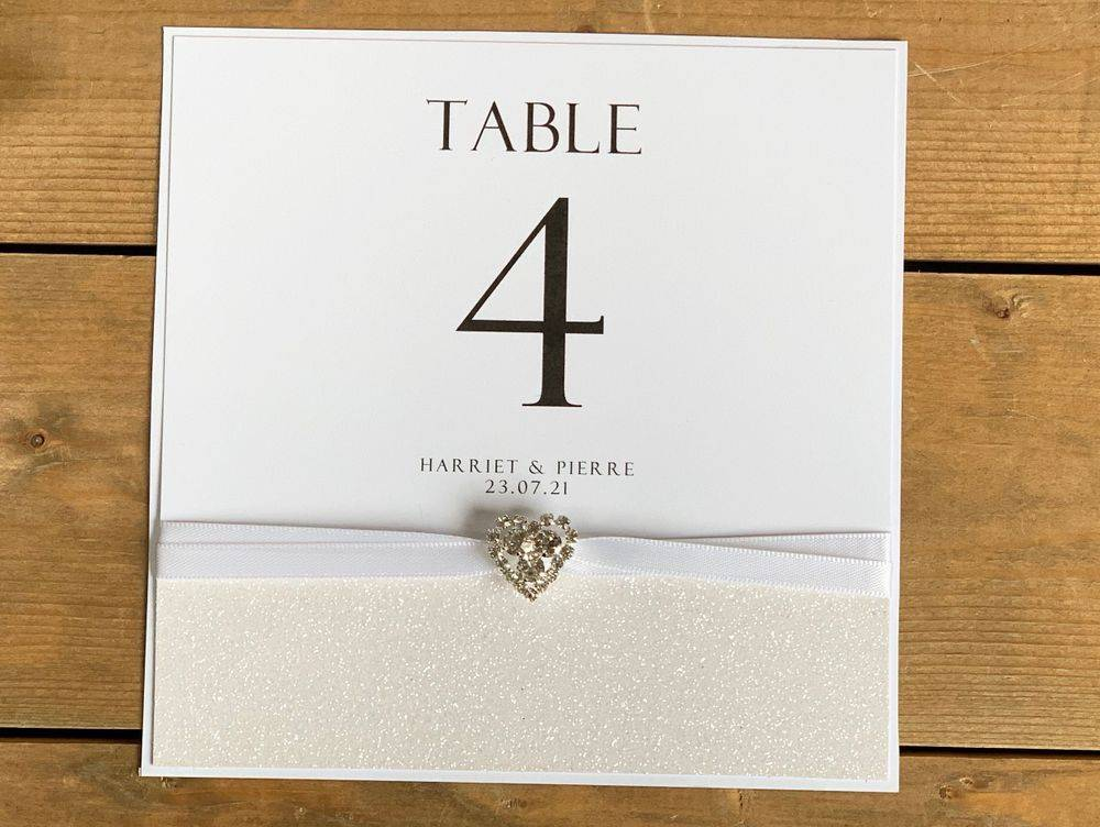 White and Silver  glitter table number card with crystal heart