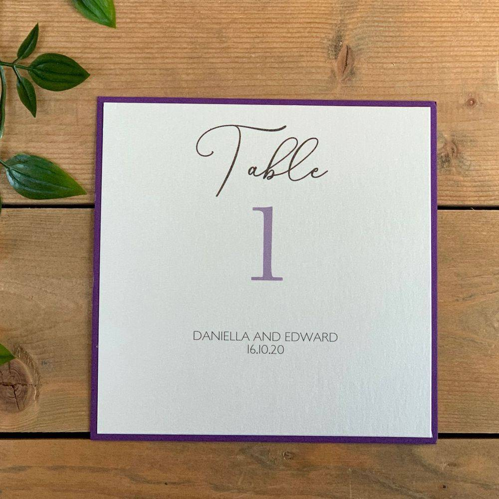 Ivory and purple Wedding Table Number card with personalisation