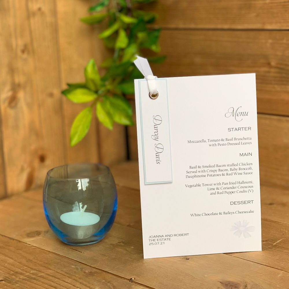 Blue and White Wedding Menu and Place name combination