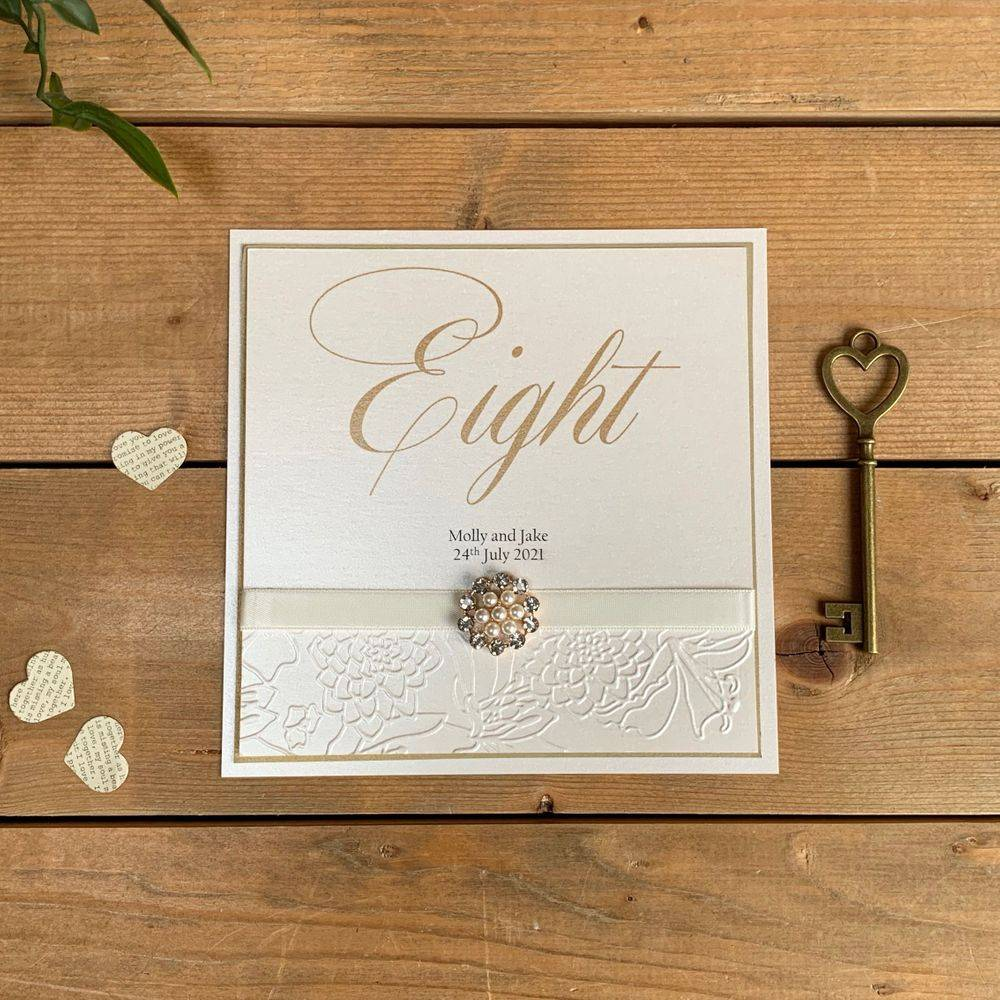 Ivory Table Number card with pearls and crystal