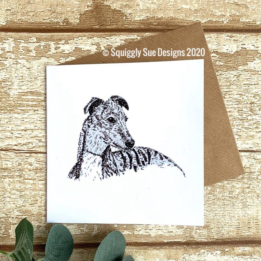 Whippet greyhound dog  card pen & ink sketch